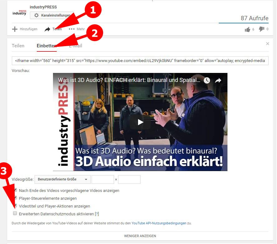 Infografik: Wie kann ich beim YouTube-Clip den erweiterten Datenschutzmodus aktivieren? Klicken Sie in diesen drei Schritten auf die Links unterhalb des YouTube-Clips, den Sie einbetten möchten.